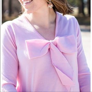 J. Crew Pink Vneck Sweater with Bow. Size CL